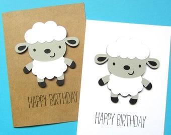 Lamb Birthday Card - Sheep Birthday Card - Kid Birthday Card - First Birthday Card - Girl Birthday Card - Boy Birthday Card - Cute Card