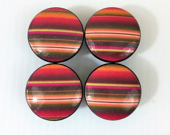 Set of 4 Orange and Pink Serape Stripe Cabinet Knobs