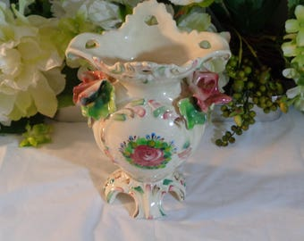 Made in Italy Vase Hand Painted Porcelain Roses Floral Design Collectible Art Nouveau Wedding Gift Housewarming