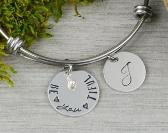 Be•YOU•tiful Adjustable Bangle Bracelet with Personalized Initial Charm // Handstamped Stacking Bangle