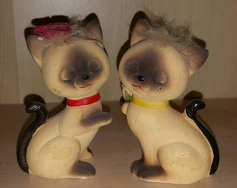 Japan Siamese Love Cats Figurines Porcelain Kitties Vintage Kitsch Kitty 50s Kittens Mr Mrs Cat Wedding Annivery Gift Boy Girl Kitsch Decor