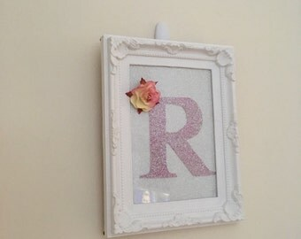 "Personalised initial letter frame 7x5"" pink glitter and rose"