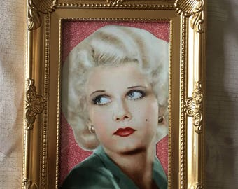 "Jean Harlow glitter print in a gold frame 6x4"" x"