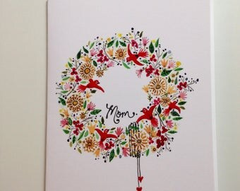 Happy Mother's Day Whimsical Wreath card 4.25x5.5 blank inside