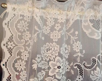 White Lace Curtain Panel, 38 W x 76 L Scalloped edges, Floral Pattern