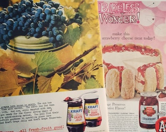 Two retro Jelly ads from 1961, featuring Kraft Grape jelly and Ann Page Strawberry. Awesome vintage graphics.