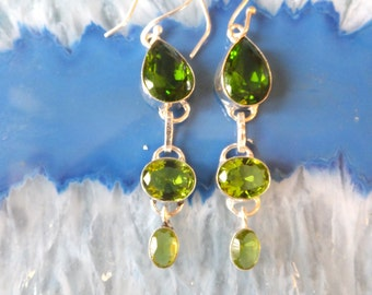 Peridot and Sterling Silver Earrings