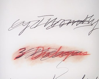 CY TWOMBLY - very rare original limited edition offset lithograph - c1977 - large (Edition of 500. Yvon Lambert Gallery, Paris)