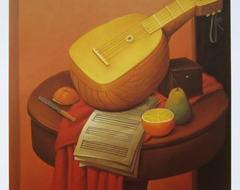 FERNANDO BOTERO - 'Natura Morta con Mandolino' - limited edition offset lithograph - c1992 (important Columbian artist)