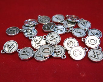 "26pc ""alphabet letter set"" charms in antique silver style (BC1164)"