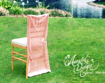 Sparkly Rose Gold Luxury Folding Chair Cover | Sequin Chair slipcover for Bridal Shower Wedding Ceremony Event Reception Engagement Decor