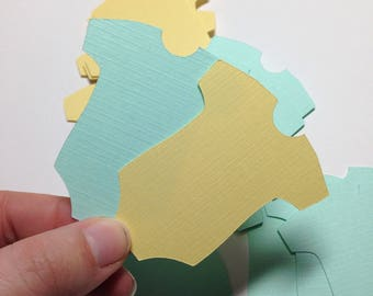 """Gender Neutral Baby Onesie Die Cuts ~  2.5"""" Light Yellow & Green Baby Shower Decorations, Wish Tree Tags, Wishing Tree Tag, Twin Baby Shower"""