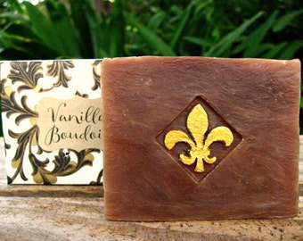 VANILLA SOAP. A Natural Cold Process Soap made with Goat Milk, Shea Butter and a Sensual Vanilla fragrance. 4.5 oz.