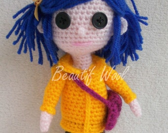 Crochet Coraline Jones - Tim Burton - Coraline Rain Coat - Button Eyes