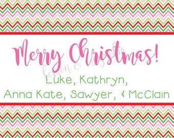Red Green and Pink Chevron Personalized Christmas Gift Tag
