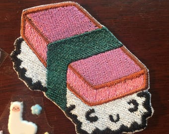 Cute Spam Musubi 4x3inch Sew on patch