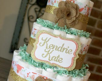 3 Tier Shabby Chic Diaper Cake, Mint Coral Gold Peach Pink, Girl Baby Shower