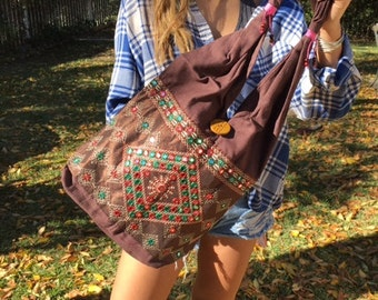 Boho bag, brown cotton purse,bag,Embroidered purse,shoulder bag,hippie bag,green,brown, Indian purse,mirrors