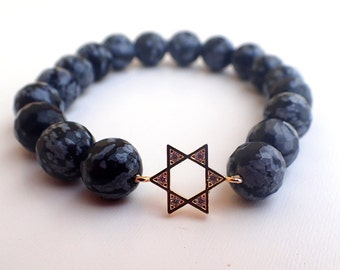 Obsidian bracelet, star of David bracelet, Jewish bracelet . Healing bracelet, Protection bracelet
