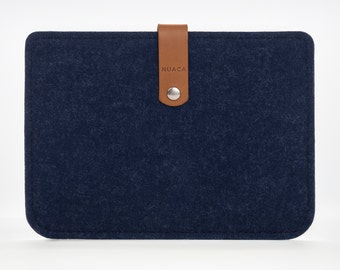 Kindle Sleeve - Kindle Paperwhite Case - Kindle Cover - Kindle Paperwhite Leather Case - Felt and Leather Case - Blue Kindle Cover