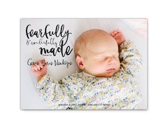 Custom Birth Announcement // Photo Baby Announcement // Religious Birth Announcement // Printable Scripture Baby Announcement Cards // Gevie