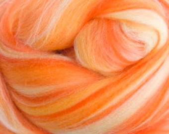 4 oz  Papaya Extra Fine Merino Wool Top (roving). - Sugar Candies Collection from DHG-  Great for Spinning and Felting