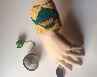 Tea Pot Cuff Bracelet/Retro Tea Pot wristband/totally Leather made/bracelets with figures/Ready to be shipped!