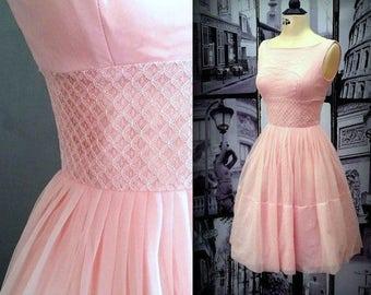 50s Pink Chiffon Fit & Flare Dress - Pretty Lace Midriff - Crinoline Underskirt - Rockabilly Prom Dress - Metal Zip - XXS