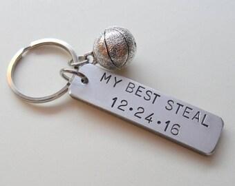 Anniversary Keychain, Basketball Keychain, Couples Keychain Gift, Customized Keychain, Personalized, Husband Wife, Boyfriend Girlfriend, GPS