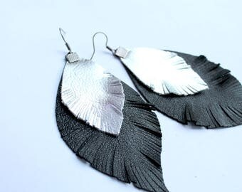 Black and silver leaf leather earrings  Leather earrings  Feather earrings Bohemian earrings Light earrings Little handmade leather jewelry