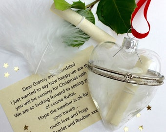 Glass Bauble Secret Message Personalised Keepsake - Christening Gift Gift For New Baby - Wedding Favour Keepsake  Decoration - 1st Christmas