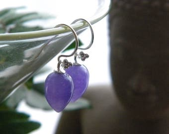 Lavender Jade Earrings, Acorn Earrings, Upside down teardrop, Women's Jewelry, Semi Precious Stone Earrings, Sterling Silver, Spring,