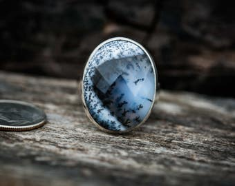 Dendritic Agate Ring 7.5 - Merlinite Ring size 7.5 - Agate ring - Amazing Merlinite Agate Ring - Tree Agate Ring - Moss Agate Ring Merlinite