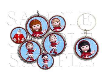 Santa and Elves Bottle Cap Images, Clip Art,1 Inch Circles, Cupcake Toppers, Stickers,Buttons, Digital Download, DIY Printable
