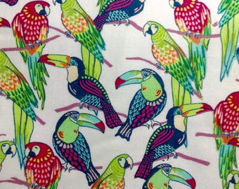 One Half Yard of Fabric Material - Tropical Birds