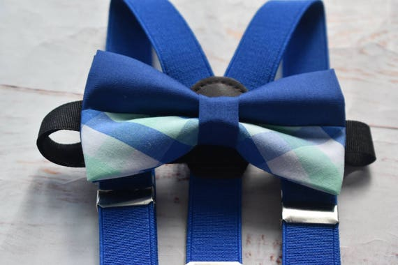 Royal blue and mint Plaid / Gingham Bow Tie  for Baby, Toddlers and Boys (Kids Bow Ties) with Braces / Suspenders