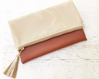 Perforated Champagne & Rust Faux Leather Foldover Clutch - Gift for her, Birthday, Anniversary, Bridesmaid, Bride