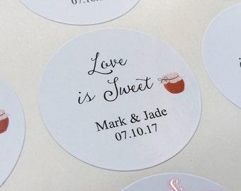 Love is Sweet Jam Jar Wedding Sticker Labels