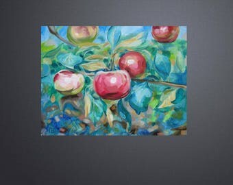 Picture Art Original Oil Painting Fruits, Apples