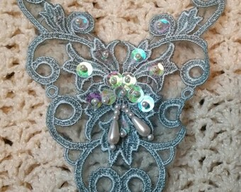 Vintage look teal applique. Pearl dangle with sequin for your shabby chic embellishments.