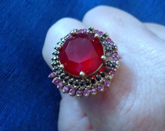 Sterling Silver Ruby, Sapphire and White Topaz Ring,Turkish Ring, Round Ruby Ring,Statement Ring