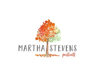 Watercolor Logo, Business, tree, leaves, autumn, fall design, photography, watermark, painted, Newborn photography logo, maternity logo
