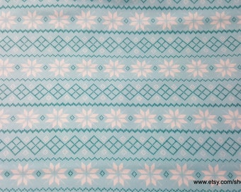 Christmas Flannel Fabric - Snowflake Knit Stripe - 1 yard - 100% Cotton Flannel