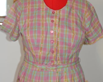 Womens Vintage 1950s Spring Plaid A-Line Pleated Housewife Dress with Pockets (Medium/Large)