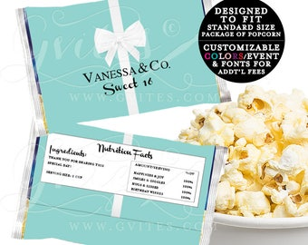 Printable Microwave Popcorn Wrapper, birthday and co, popcorn cover breakfast at white bow party favors. Digital {6.63 x 9.86 1-Per/Sheet}