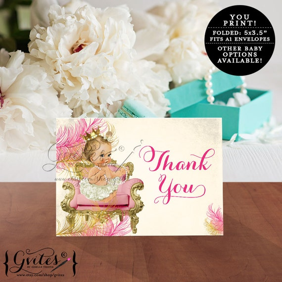 Vintage Baby Shower Thank You Cards: Pink Gold Baby Shower Thank You Cards Princess Baby By Gvites
