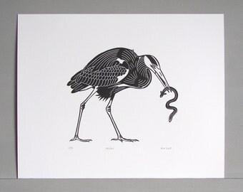 Heron Linocut Print // Handmade // Original // Limited Edition