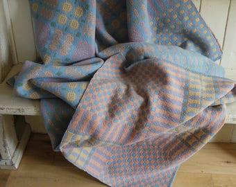 Vintage welsh blanket - Pastel Colour way -Circa 1950s