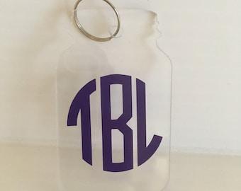Acrylic Mason jar keychain with your circle monogram