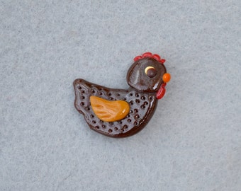 Artisan Made Polymer Clay Chicken Pin Vintage